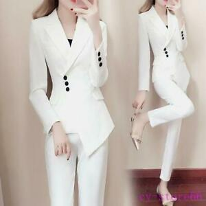 Womens 2 Pcs Suits Slim Lapel Blazer Jackets Formal Coats Long Pencil Pants Lady