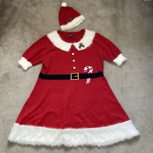 Primark Christmas dress size XL red white Mrs Claus hat 18 20 fancy dress