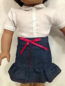 """Denim Skirt & Battat White Blouse 2 PCs Outfit - Fits 18"""" AG OG or Similar Dolls"""