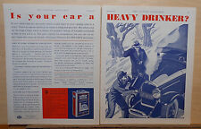 2 page 1930 magazine ad for Prestone Anti-Freeze - Is Your Car A Heavy Drinker?