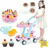 Childrens 56 Piece Light Up Birthday Cake Trolley Kids Role Play Toy Set 889-15