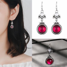 Fashion Chic Women Silver Moonstone Red Agate Dangle Hook Earrings Jewelry Gifts