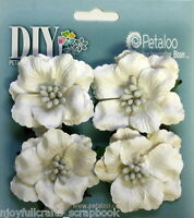 WHITE DIY 4 RUFFLED ROSES Paper Flower 50mm across Darjeeling Petaloo