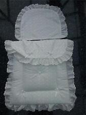 Baby's Pram Quilt set in White Broderie anglaise to fit silver cross prams