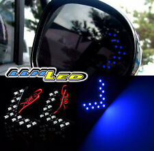 2X Car Rear View Mirror 14 SMD LED Turn Signal Arrow Blinker Light Blue  Look