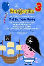Personalised Birthday Invitations Pirate George Pig x 5