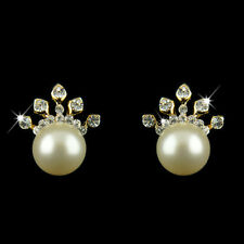 18k Gold plated crown crystals pearl stud earrings with Swarovski elements