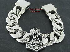 PANZERARMBAND SKULL Silber 925 THORS HAMMER Totenkopf 20cm 167gr. Bracelet
