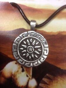 Greek Key Sun   Pewter  Pendant