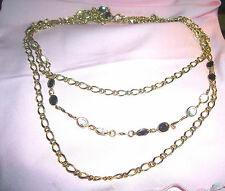 VERY ELEGANT MODERN 3 STRANDS OF GRADUATED LENGTH BLACK/CLEAR INSERTS NECKLACE