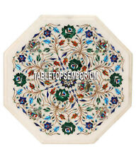 14'' White Marble Garden Table Top Multi Floral Inlay Marquetry Furniture Decors