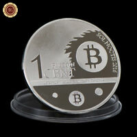 WR Silver Plated Bitcoin Coin One Cent Eagle BTC Coin Art Collectibles Gifts Him