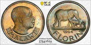 Finest 1964 Malawi PCGS PR65CAM Colorful Toned Proof Florin ONLY 2 GRADED HIGHER