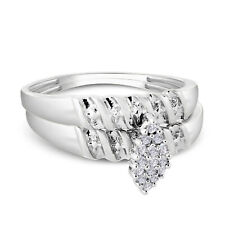 1.50 Ct Round Cut Diamond 14K White Gold Fn Engagement Ring Set Wedding Bands