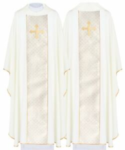 Cream Gothic Chasuble with matching stole KOR224-K us