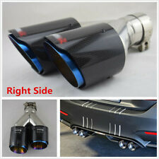 1x Glossy Car Dual Exhaust Pipe Carbon Fiber Tail Exhaust Muffler Tip-Right Side