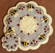 Prim Wool Felt Candle Mat Kit, Penny Rug Kit, BEE MY HONEY BEE, Embroidery Kit