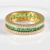 14k Yellow Gold Over 2.00Ct Emerald & Diamond Eternity Wedding Band Ring