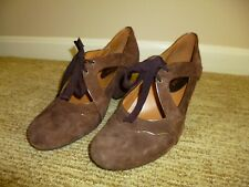 Earthies Leather Brown Suede Mary Jane Heels Women Size 9 B