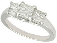 1.34ct Diamond and 18Carat White Gold Trilogy Ring - Vintage Circa 1990