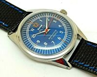 hmt pilot hand winding men steel blue dial 17 jewel vintage india watch run