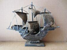 model ship Niña replica 6� metal Christopher Columbus sailboat collectible used