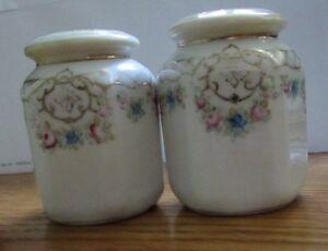 Beautiful Vintage Porcelain Salt & Pepper Shakers~ Floral & Gold Design~ Nippon