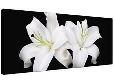 Black White Large Canvas Print of Lily Flowers for Living Room 1128