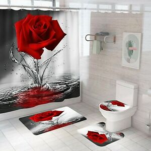 Rose Shower Curtain Bathroom Rug Set Thick Bath Mat Non-Slip Toilet Lid Cover