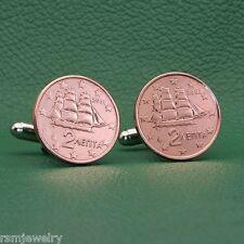 Greek Sailing Ship Bronze Coin Cufflinks,  2 Euro Cents, Greece Age of Sail
