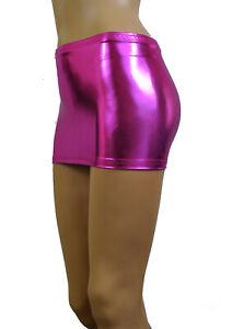 "Micro Mini Skirt Metallic Pink Shiny 9"" Short Party Sexy Shiny Bodycon Club CS50"