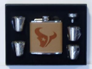 HOUSTON TEXANS 6 OZ LEATHER ENGRAVED STAINLESS STEEL FLASK W 4 SHOT GLASSES
