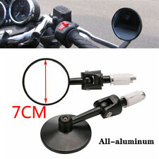 A Pair Motorcycle Universal Retro All-aluminum Round Handle Rearview Mirror Part