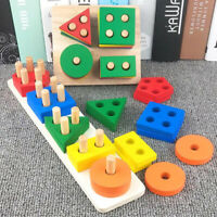 Wooden Geometric Blocks Montessori Educational Toys Children Shape Matching