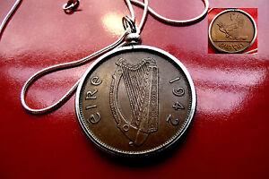 "Lucky Rare 1942 IRELAND Gaelic Harp Penny Bezel on 18"" 925 Silver Snake Chain"