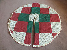 """Stunning Holiday ChristmasTree Skirt Quilted Red Green White Lace Trim 36"""" Rever"""