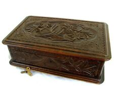 Antique Music Box Jewelry Box *Black Forest* Carved Walnut* High Qual. c.1880
