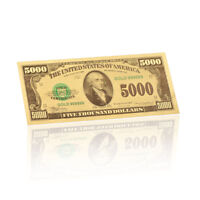 WR 1981 US $5000 Dollar Note Color 24K Gold  America Paper Money Banknotes