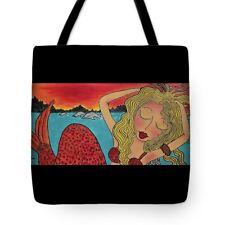 MERMAID Blonde QUALITY VIVID colors whimsical artist tote bag purse 16 x 16 New