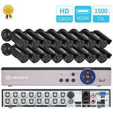 16CH 1080N HD DVR 1500TVL IR In/Outdoor Cameras CCTV Home Security System HDMI