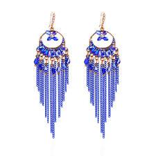 Ohrhänger Ohrring Perlen Kettchen Kristalle blau weiß goldfarbenes Metall
