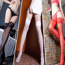 NEUF Noir Blanc Rouge Rose/Bas Sexy  Chaussettes Mi-Bas Avec Porte  En Dentelle