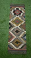 Handmade Wool Jute Kilim Runner Area Rugs Hand loomed Rustic Indian Art 2x6-30