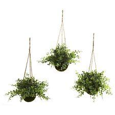 Eucalyptus,Maiden Hair & Berry Hanging Artificial Plant Basket Set of (3)