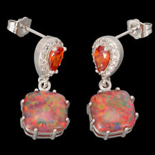 Pear Orange Garnet 10x10mm Brown Fire Opal Cabochon Silver Drop Pierced Earrings