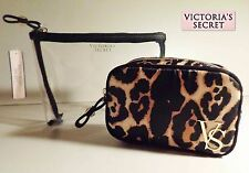 NWT Set 2 Pc Victoria's Secret Leopard Cosmetic Bag Duo Travel Make Up Bags New