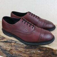 Dr Martens Men's 9 Morris UK 8 Burgundy Cherry Red Cap Toe 5 Eye Brogue Shoes