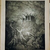 """Dore Engraving from 1866 Edition of Milton's """"Paradise Lost,""""  PG 24 Orginal prt"""