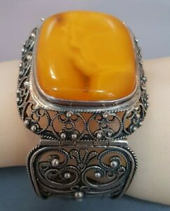 Baltic Egg Yolk Amber Bracelet. Large Statement Superb Quality. AHJ. Ref:xahodmx