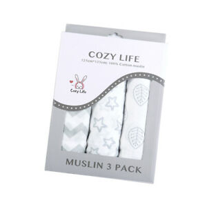 Cozy Life 3PK Muslin Wraps gift box 100% cotton multipurpose blanket for baby